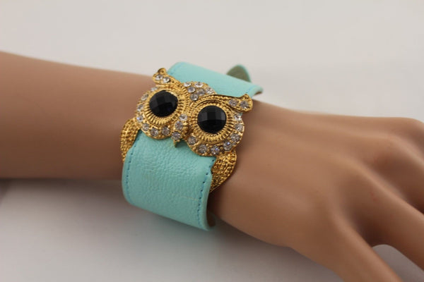 Aqua Blue / Pink / Light Pink / Black Faux Leather Strap Nude Bracelet Gold Metal Owl Head Black Rhinestone Fashion New Women Jewelry Accessories - alwaystyle4you - 1