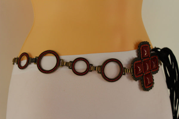 Red / Brown Hip Waist Metal Chain Belt Big Metal - Flower Charm Buckle New Women Fashion Accessories M L - alwaystyle4you - 11