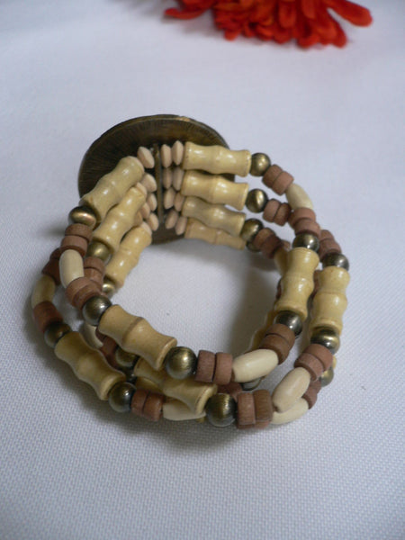 Beige Brown Wood Cream / Brown Bracelet Gold Dots Beads Native Style Fashion New Women Jewelry Accessories - alwaystyle4you - 30