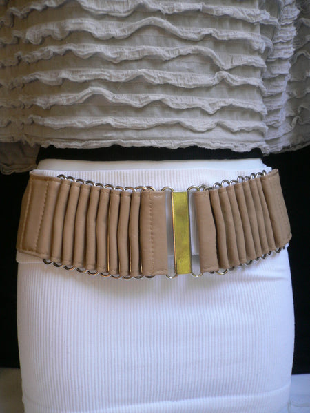Beige Black Gray Brown Wide Waist Hip Belt Silver Metal Buckle New Women Fashion Accessories XS S M - alwaystyle4you - 6