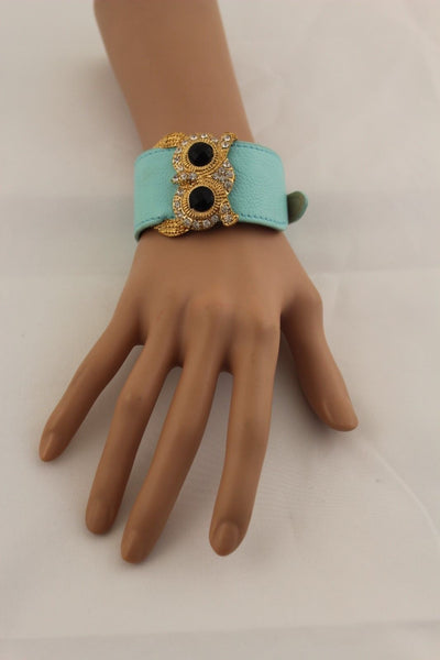 Aqua Blue / Pink / Light Pink / Black Faux Leather Strap Nude Bracelet Gold Metal Owl Head Black Rhinestone Fashion New Women Jewelry Accessories - alwaystyle4you - 26
