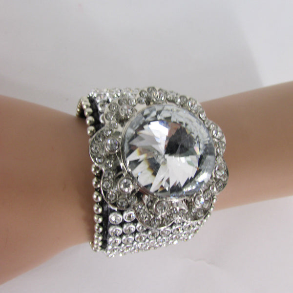 Silver Crystals Large Flower Black Leather Multi Rhinestone Bracelet New Women Fashion Jewelry Accessories - alwaystyle4you - 3