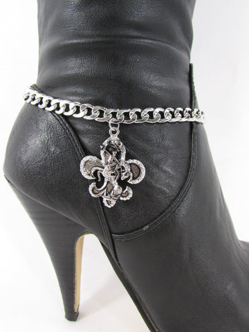 Silver Metal Chain Boot Bracelet Plain Fleur De Lis Lily Flower Charms Football Bull / Rodeo Horse / Horse Bow New Women Fashion Bling Jewelry - alwaystyle4you - 17