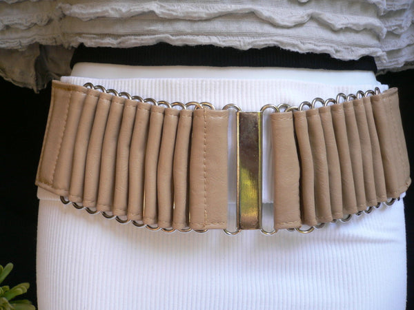 Beige Black Gray Brown Wide Waist Hip Belt Silver Metal Buckle New Women Fashion Accessories XS S M - alwaystyle4you - 1