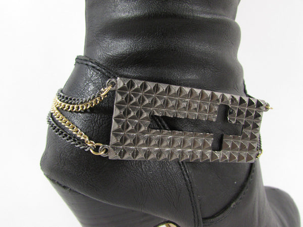 Gold / Pewter Metal Plate Cross Hollow Charm Links Boot Chain Bracelet New Women Fashion - alwaystyle4you - 26