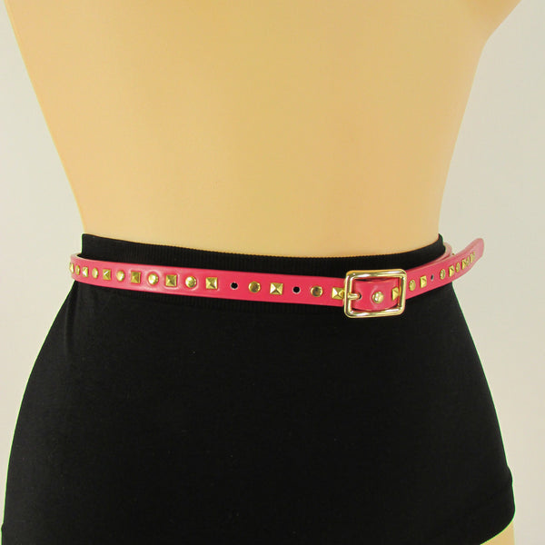 Pink Skinny Narrow Classic Belt Gold Studs Banana Republic New Women Fashion Accessories  XS S M L - alwaystyle4you - 12
