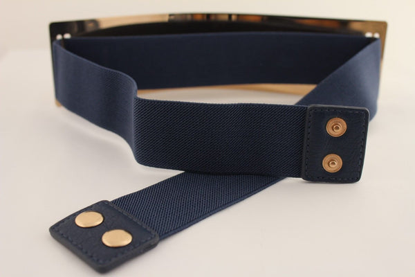 Light Brown (Mocha) / Dark Navy / Royal Blue / Gold Yellow / Black /Red / White Elastic Stretch Back High Waist Hip Belt Gold Metal Mirror Plate New Women Fashion Accessories Plus Size - alwaystyle4you - 12