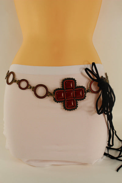 Red / Brown Hip Waist Metal Chain Belt Big Metal - Flower Charm Buckle New Women Fashion Accessories M L - alwaystyle4you - 12
