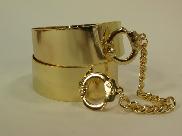 Gold Metal Plate Handcuffs Chain 2 Connected Bracelets Bangles New Women Fashion Jewelry Accessories - alwaystyle4you - 12