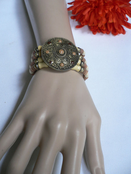 Beige Brown Wood Cream / Brown Bracelet Gold Dots Beads Native Style Fashion New Women Jewelry Accessories - alwaystyle4you - 31
