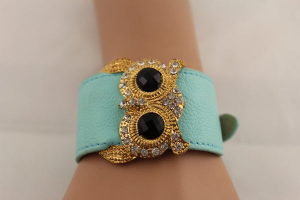 Aqua Blue / Pink / Light Pink / Black Faux Leather Strap Nude Bracelet Gold Metal Owl Head Black Rhinestone Fashion New Women Jewelry Accessories - alwaystyle4you - 27