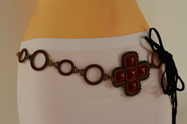 Red / Brown Hip Waist Metal Chain Belt Big Metal - Flower Charm Buckle New Women Fashion Accessories M L - alwaystyle4you - 14