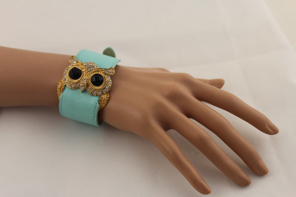 Aqua Blue / Pink / Light Pink / Black Faux Leather Strap Nude Bracelet Gold Metal Owl Head Black Rhinestone Fashion New Women Jewelry Accessories - alwaystyle4you - 28