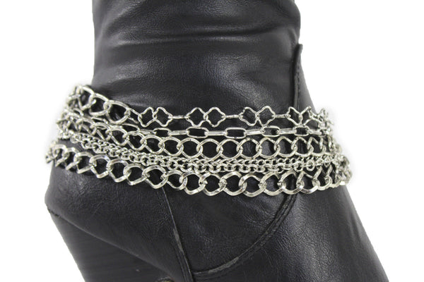 Gold / Silver Metal Wide Boot Chain Bracelet Anklet Link Shoe Charm Women Fashion Jewelry - alwaystyle4you - 16