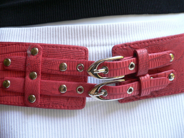 Red Purple Black Chunky Elastic Hip Waist Belt Double Buckles New Women Accessories S-L