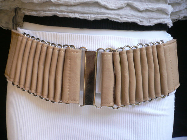 Beige Black Gray Brown Wide Waist Hip Belt Silver Metal Buckle New Women Fashion Accessories XS S M - alwaystyle4you - 36
