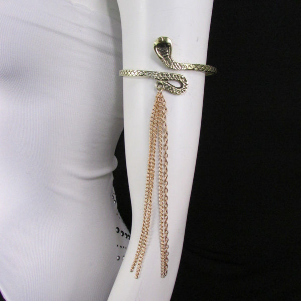 Silver / Gold Metal Arm Cuff Bracelet Cobra Snake Multi Chains New Women Fashion - alwaystyle4you - 11