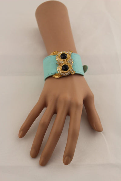 Aqua Blue / Pink / Light Pink / Black Faux Leather Strap Nude Bracelet Gold Metal Owl Head Black Rhinestone Fashion New Women Jewelry Accessories - alwaystyle4you - 29