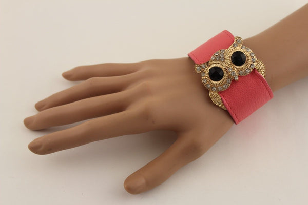 Aqua Blue / Pink / Light Pink / Black Faux Leather Strap Nude Bracelet Gold Metal Owl Head Black Rhinestone Fashion New Women Jewelry Accessories - alwaystyle4you - 18