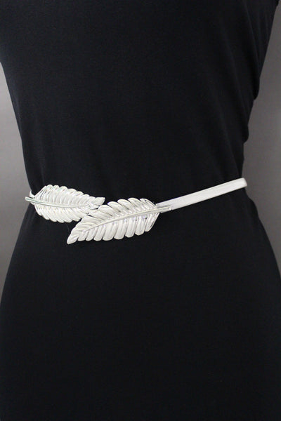 Gold / Silver Metal Hip High Waist Elastic Belt Two Fall Leaves Buckle New Women Fashion Accessories S M L - alwaystyle4you - 20
