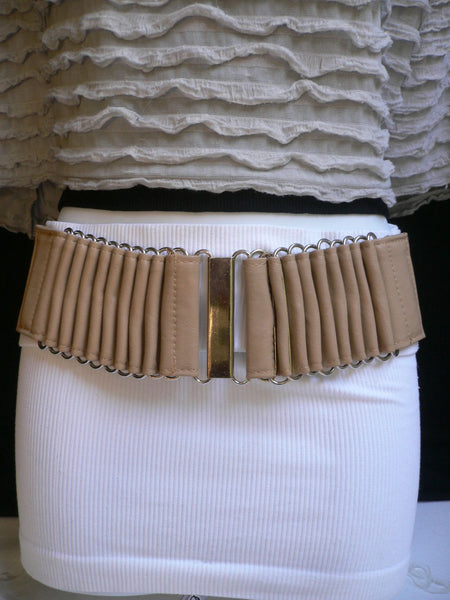 Beige Black Gray Brown Wide Waist Hip Belt Silver Metal Buckle New Women Fashion Accessories XS S M - alwaystyle4you - 11