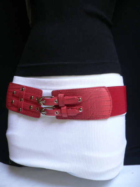 Red / Purple / Off White / Black Chunky Elastic Hip Waist Western Style Belt Double Buckles New Women Fashion Accessories - alwaystyle4you - 14