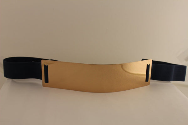 Light Brown (Mocha) / Dark Navy / Royal Blue / Gold Yellow / Black /Red / White Elastic Stretch Back High Waist Hip Belt Gold Metal Mirror Plate New Women Fashion Accessories Plus Size - alwaystyle4you - 17
