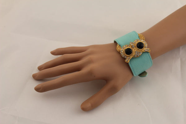 Aqua Blue / Pink / Light Pink / Black Faux Leather Strap Nude Bracelet Gold Metal Owl Head Black Rhinestone Fashion New Women Jewelry Accessories - alwaystyle4you - 31