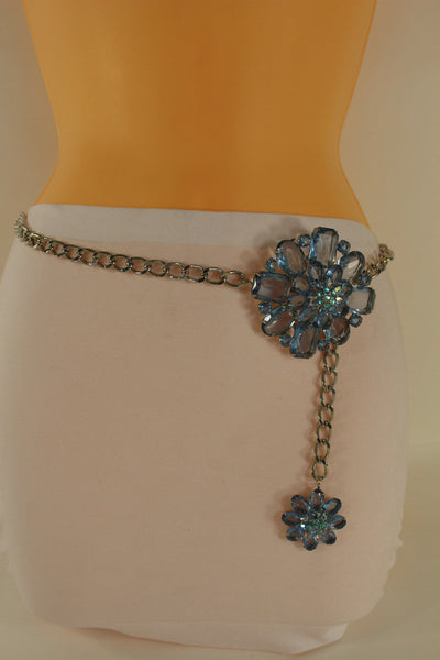 Clear Silver / Blue Silver / Brown Silver / Light Pink Silver Hip Waist Silver Metal Chain Belt Big Flower Buckle New Women Fashion Accessories XS To XL - alwaystyle4you - 15