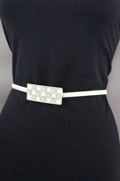 Gold / Silver Stretch Narrow Metal Hip High Waist Elastic Belt Skulls Buckle New Women Fashion Accessories S To L - alwaystyle4you - 18