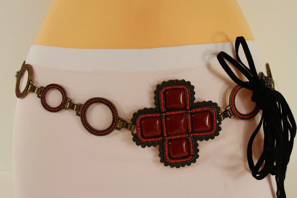 Red / Brown Hip Waist Metal Chain Belt Big Metal - Flower Charm Buckle New Women Fashion Accessories M L - alwaystyle4you - 17