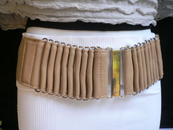 Beige Black Gray Brown Wide Waist Hip Belt Silver Metal Buckle New Women Fashion Accessories XS S M - alwaystyle4you - 8