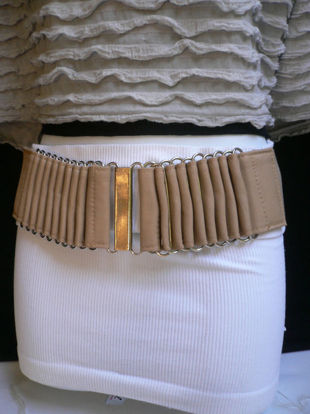 Beige Black Gray Brown Wide Waist Hip Belt Silver Metal Buckle New Women Fashion Accessories XS S M - alwaystyle4you - 10