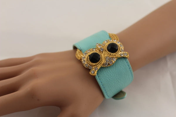 Aqua Blue / Pink / Light Pink / Black Faux Leather Strap Nude Bracelet Gold Metal Owl Head Black Rhinestone Fashion New Women Jewelry Accessories - alwaystyle4you - 32