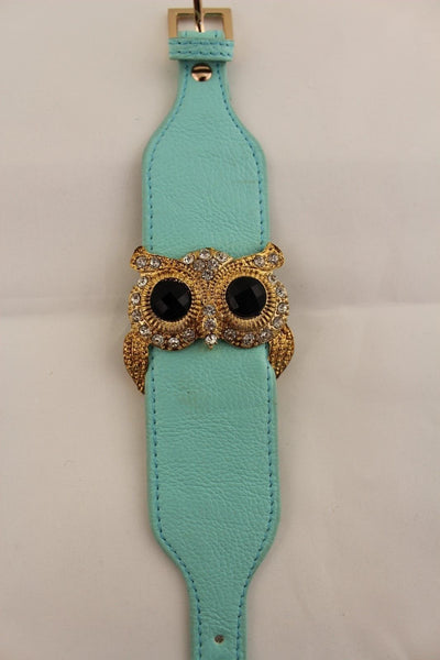 Aqua Blue / Pink / Light Pink / Black Faux Leather Strap Nude Bracelet Gold Metal Owl Head Black Rhinestone Fashion New Women Jewelry Accessories - alwaystyle4you - 33