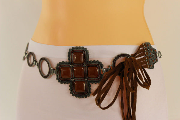 Red / Brown Hip Waist Metal Chain Belt Big Metal - Flower Charm Buckle New Women Fashion Accessories M L - alwaystyle4you - 19