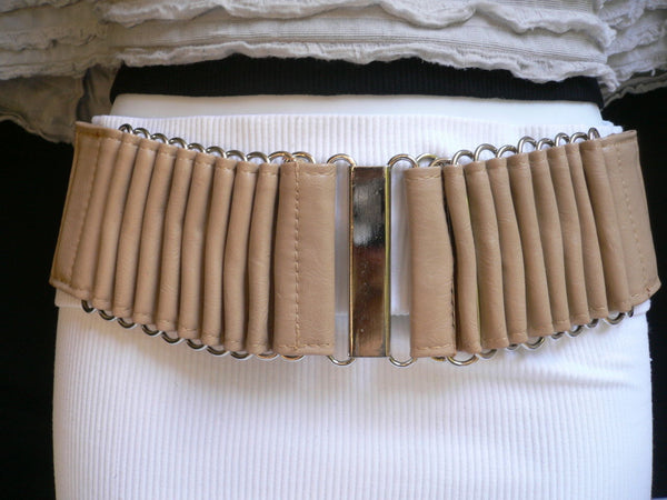 Beige Black Gray Brown Wide Waist Hip Belt Silver Metal Buckle New Women Fashion Accessories XS S M - alwaystyle4you - 9