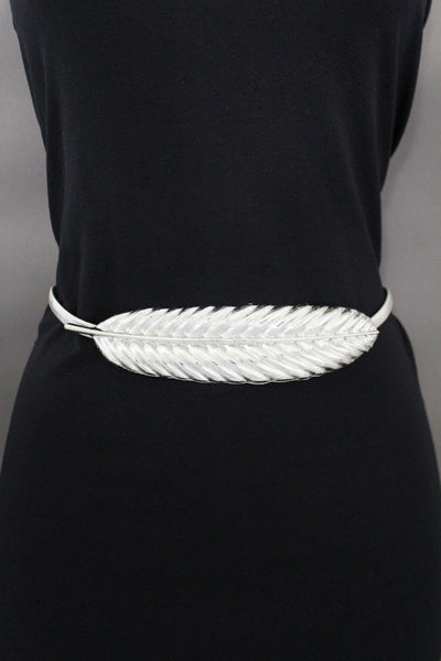 Gold / Silver Metal Hip High Waist Band Elastic Stretch Narrow Sexy Belt Long Leaf Buckle New Women Fashion Accessories S M L - alwaystyle4you - 19