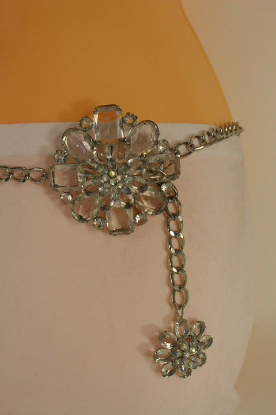 Silver Metal Chain Belt Clear Silver Blue Brown Light Pink Big Flower Buckle Women Accessories XS-XL