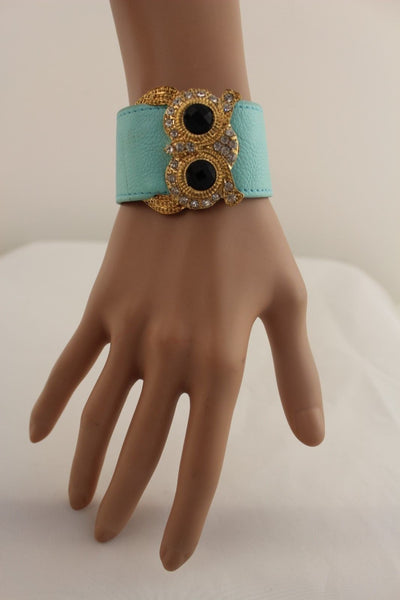 Aqua Blue / Pink / Light Pink / Black Faux Leather Strap Nude Bracelet Gold Metal Owl Head Black Rhinestone Fashion New Women Jewelry Accessories - alwaystyle4you - 17