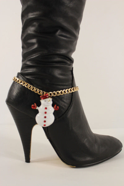 Gold Metal Boot Chain Bracelet White Snow Man Shoe Christmas Charm Women New Fashion Accessories - alwaystyle4you - 2