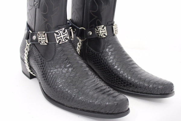Silver Big Iron Cross Boot Chain Bracelet Pair Black Straps Shoe New Men Western Style - alwaystyle4you - 5