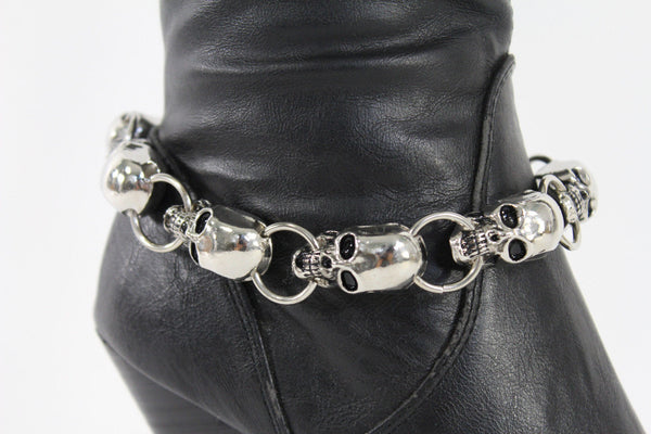 Silver Metal Boot Bracelet Chains Skulls Anklet Shoe Charm New Women Western style Fashion Jewelry - alwaystyle4you - 4