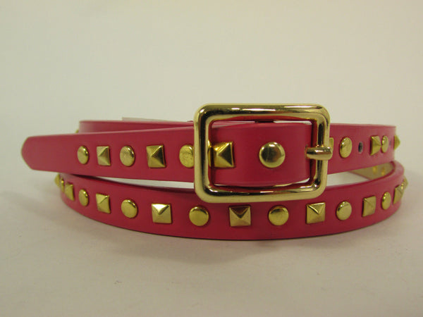 Pink Skinny Narrow Classic Belt Gold Studs Banana Republic New Women Fashion Accessories  XS S M L - alwaystyle4you - 2