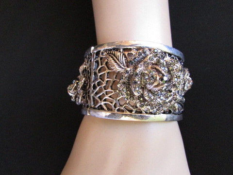 Silver Pewter Elastic Metal Bracelet Rhinestones Roses Flowers New Women Fashion Jewelry Accessories - alwaystyle4you - 1