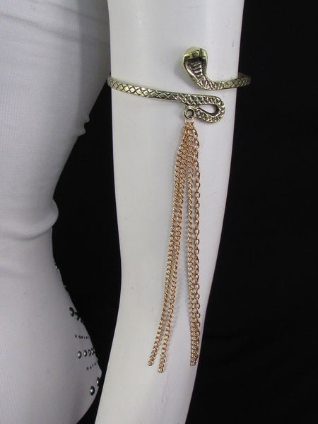 Silver / Gold Metal Arm Cuff Bracelet Cobra Snake Multi Chains New Women Fashion - alwaystyle4you - 1