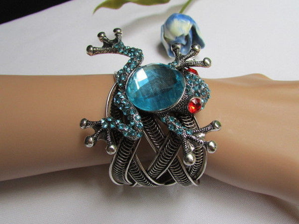 Silver Metal Cuff Bracelet Big Frog Black/Blue/ White Rhinestone Beads Red Eye New Women Fashion Jewelry Accessories - alwaystyle4you - 4