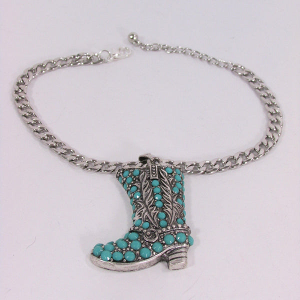 Turquoise / Silver Metal Western Shoe Bling Anklet Charm Boot Chain Bracelet New Women Cowboy Rodeo Fashion - alwaystyle4you - 2