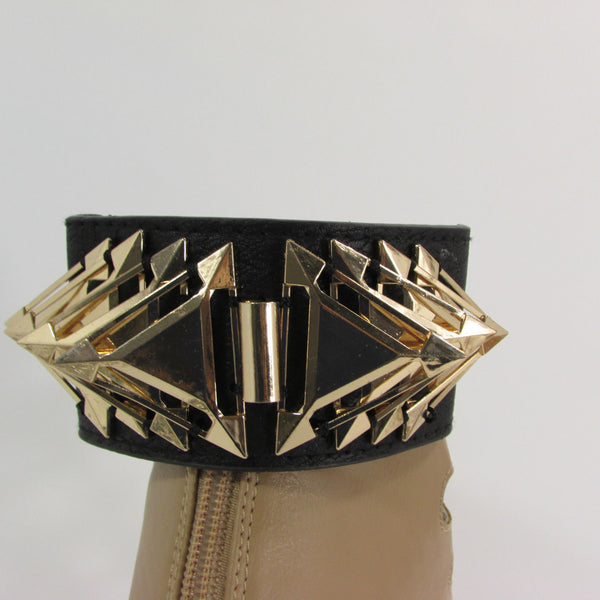 Gold Metal Spikes Boot Anklet Chain Bracelet Black Faux Leather Straps One Strap Shoe Women - alwaystyle4you - 2