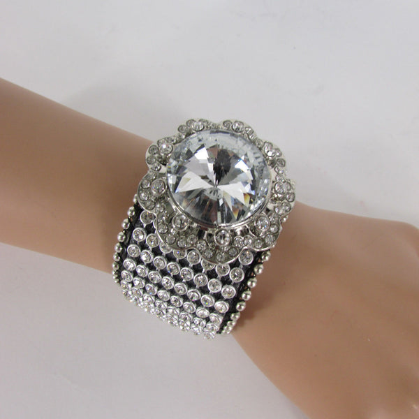 Silver Crystals Large Flower Black Leather Multi Rhinestone Bracelet New Women Fashion Jewelry Accessories - alwaystyle4you - 5